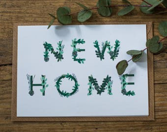 New Home Botanical Floral Illustrated Moving House Greetings Card