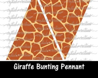 Giraffe Print Triangle Bunting Pennant Banner Instant Download, Party Decorations, Print and Cut file, Silhouette, Cricut, Safari