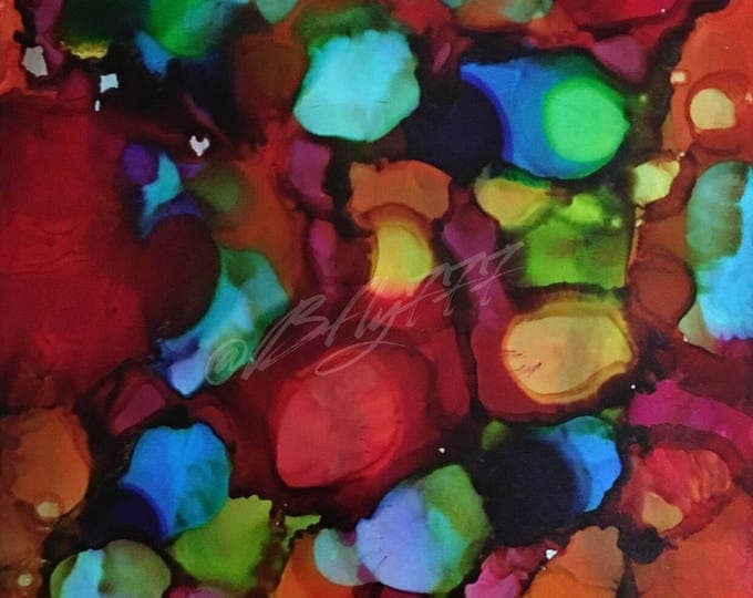 "Original Alcohol Ink Abstract Painting: ""Festival"""