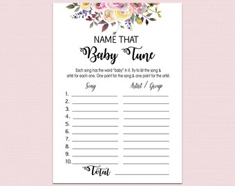 Name that baby tune, name that baby song, Funny Baby shower games, Floral Baby Shower Game, Song Guessing Game, Boho Games printable BL2