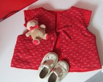 Red padded waistcoat for little girl