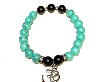 Matte Black Onyx and Turquoise Stretch Bracelet