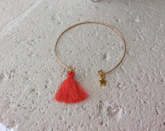 Bracelet very fine gold with star and tassel charm