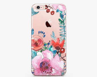 Clear Floral Case iPhone 7 Clear iPhone 6s Case Galaxy S8 Case Samsung Edge Case iPhone 7 Plus Flower Clear 7 Plus Phone Case iPhone ACC_161
