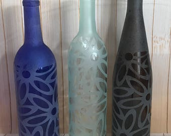 Etched Wine Bottle