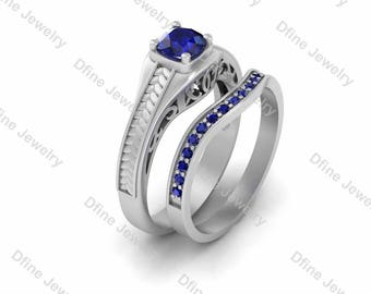 r2d2 star wars droid inspired blue sapphire solitaire engagement ring promise band matching 2pc bridal ring - R2d2 Wedding Ring