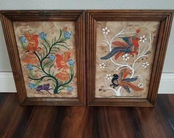 Mexican Folk Art Amate Painting Set