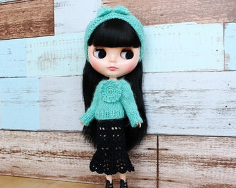 Blythe knitted Sweater and Headband, Blythe Doll pullover, Blythe Headband, Blythe knit clothes, Blythe Sweater