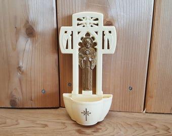 Vintage Hanging Holy Water Holder Jesus God Cream & Gold Tone Plastic Spiritual Protection Gift Christian Catholic Baptism Spirit Angels