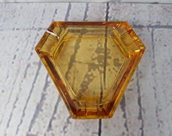 Modern Geometric Mid Century Yellow Glass Ashtray Vintage Cigarette Smoking Break Ceramic Souvenir Collectible Triangle Glass Pop Art Decor