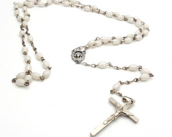 Vintage Rosary Mother of Pearl Beads Virgin Mary Italy Italian Metal Crucifix Cross Antique First communion Prayer Confirmation Wedding