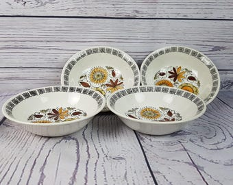 Vintage Set of 4 Roadhurst Made in England Ironstone Calypso Bowls Fine Dinner Dinnerware Modern Mid Century Replacement Dishes Dining