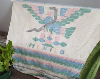 """Vintage Mexico Thick Throw Blanket Serape / 48"""" x 72"""" / Couch Living Room Cabin Rustic / Bedding Bed Eagle Snake Boho Bohemian"""