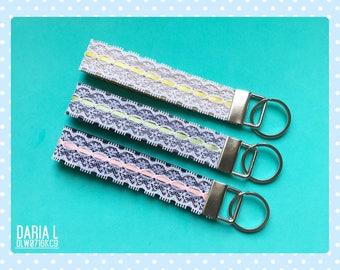 Cute Key Fobs/Cute Wristlet Lanyard/Handmade With Lace/DLW0716KC9