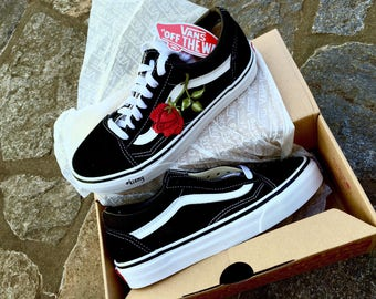 SALE!!! Black & White Roses Custom Vans