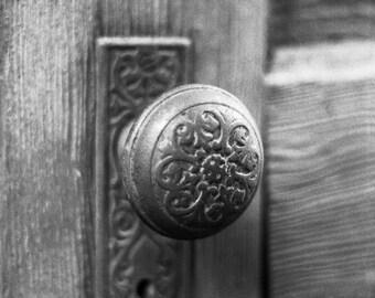 Antique Door Black and White Photography, Minimalist Decor