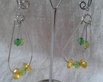 Earrings hoop earrings yellow and green beads