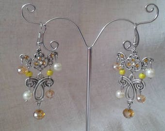 "Earrings ""the silver and yellow beads"""