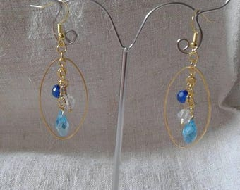 Blue beads and oval earrings