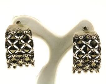 Vintage Marcasite Design Huggie Hoop Earrings Sterling Silver ER 335