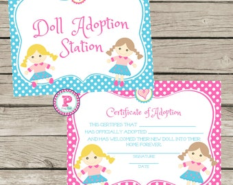 Doll Adoption Station and Adopt a Doll Adoption Certificate Dolls Birthday Party Ideas Adoption Party Little Girls Birthday Party