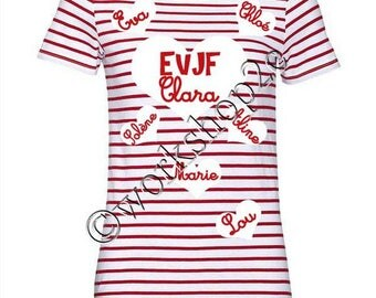 Sailor red and white bachelorette party shirt personalized hearts
