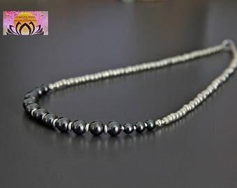 Hematite Silver Necklace-Gemstone Necklace-Necklace Bracelet Set-Boho Chic Elegant Jewellery-Layering Necklace-Clasp-Czech Glass Bead-Gift