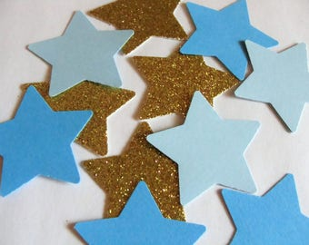 Star Confetti, Blue and Gold Glitter Star Confetti, Star Birthday Party Decor, Party Decorations, Baby Shower Decor, Gender Reveal Party