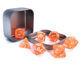 Orange Translucent Polyhedral Dice Set