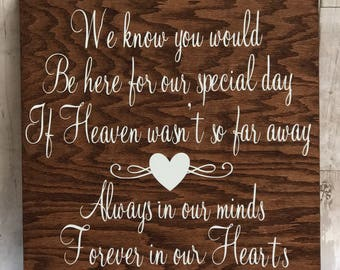 Memory Sign / Wedding Sign / Heaven Wasn't So Far Away Sign