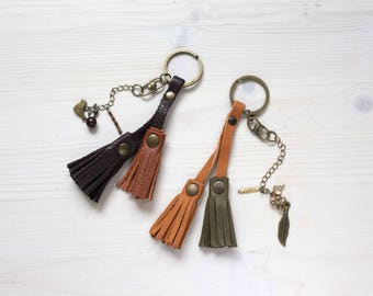 Leather Tassel Charm, Leather Tassel, Leather Bag Charm, Bag Charm, Tassel Charm, Bag Tassel, Key Tassel, Key Charm, Leather Key Charm