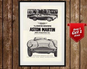 Aston Martin Vintage Poster - Aston Martin Print, DB 35, David Brown, Vintage Car Print, Garage Wall Decor, Retro Car Print, Sports Car