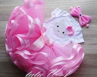 Pink Hello Kitty Birthday Tutu Set , hello kitty birthday , hello kitty tutu , girls tutu skirt , baby girl first birthday outfit