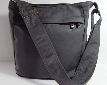 Virine grey cross body bag, messenger everyday shoulder handbag, travel...