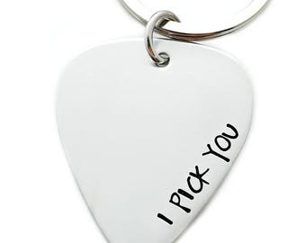 Guitar Pick Keychain - Hand Stamped Gift For Him