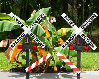 Personalized Birthday Railroad Crossing Sign/Photo Prop/Entryway Sign (66 inches Tall)