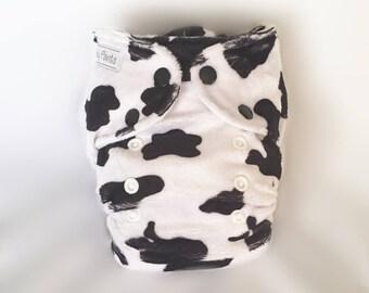 MCN Modern Cloth Nappy - moo cow minky