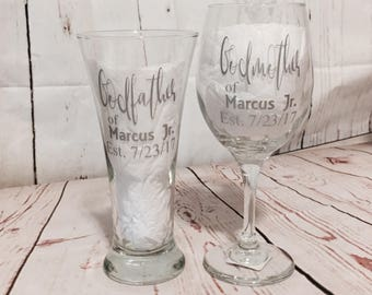 Godparents glasses - Godfather beer glass gift - Godmother wine glass gift - christening gifts - godparents gifts - wedding godparents gift