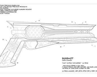 Destiny 2: Sunshot Schematic Drawing