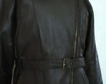 dark brown leather women's jacket, reserved, size is 40 - going for a 58- 60 kg. lady,  with a light lining