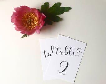 Printable Table Numbers - Black & White Calligraphy - Wedding - PDF
