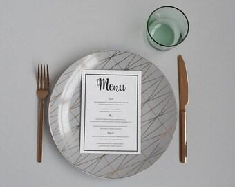 Printable Wedding Menu - Black & White Calligraphy Wedding Menu Card - PDF - Classic Wedding Reception Table Decor