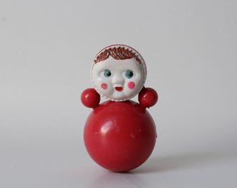 Vintage Soviet Roly-Poly Doll,Nevaliashka,Red doll toy,Weeble Wobble Toy,Collectible Russian Doll,Retro Soviet Roly poly,Little red doll.