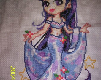 EMBROIDERY/STITCH GIRL FAIRY PRINCESS DOLL PURPLE EMBROIDERED