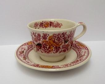 Ridgway Ironstone - 'Canterbury' pink - teacup with saucer