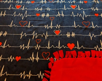 Heartbeat Printed Fleece Tied Blanket