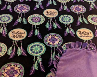 Dream Catcher Believe Printed Fleece Tied Blanket