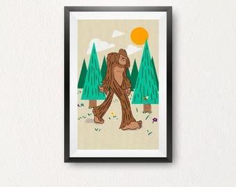 Bigfoot Walking Poster