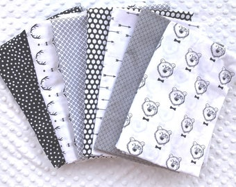 LOT 7 Coupons fabric patchwork child white, black and grey 30 x 35 cm oeko-tex