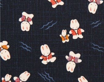Japanese fabric in Navy blue cotton with rabbits Kyoto